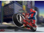 Vliesová fototapeta AG Spiderman na motorce FTDNM-5222 | 160x110 cm Fototapety pro děti