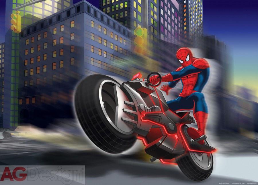 Dětská papírová fototapeta AG Design Spiderman na motorce FTDM-0716, rozměry 160 x 115 cm