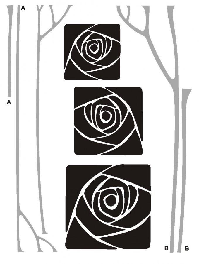 Samolepka na zeď Rose square semiš FL-0478, 85x65 cm - Samolepící dekorace na zeď