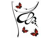 Samolepka na zeď Butterfly and Flower semiš FL-0480, 85x65 cm Samolepící dekorace na zeď