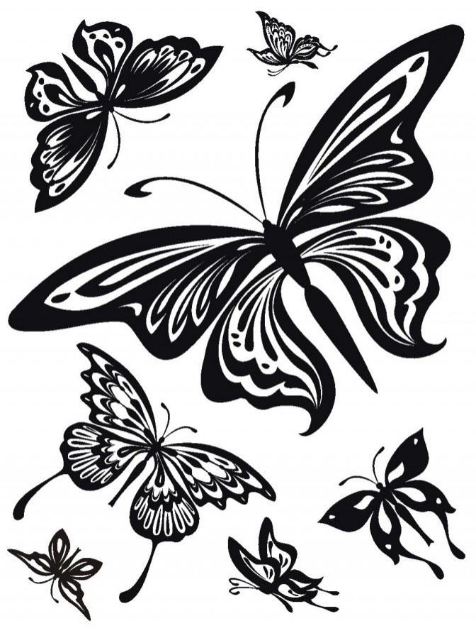 Samolepka na zeď Černí Motýli semiš FL-0483, 85x65 cm - Samolepící dekorace na zeď