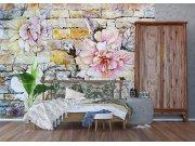 Vliesová fototapeta Kamenná zeď s květinou FTNXXL-1227 | 360x270 cm Fototapety vliesové