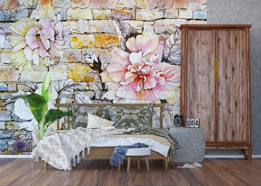 Vliesová fototapeta Kamenná zeď s květinou FTNXXL-1227 | 360x270 cm - Vliesové fototapety AG