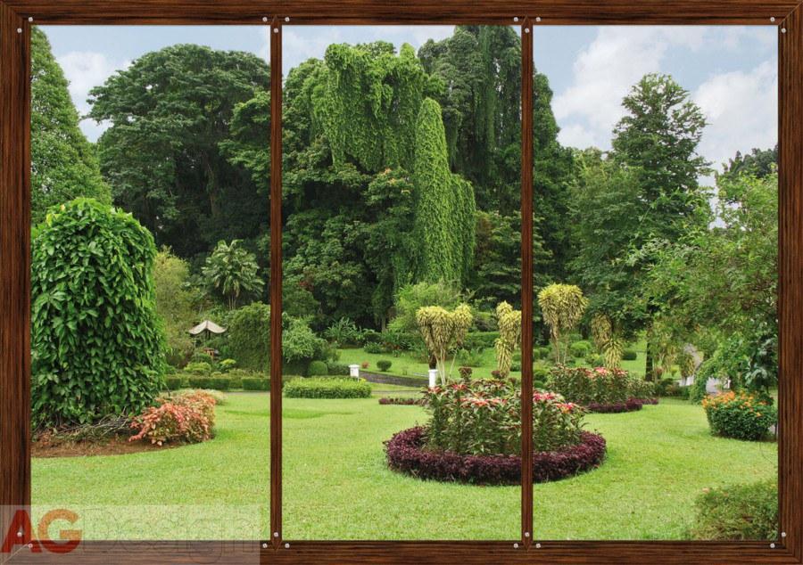 Fototapeta AG Okno do zahrady FTS-1314 | 360x254 cm - Fototapety na zeď