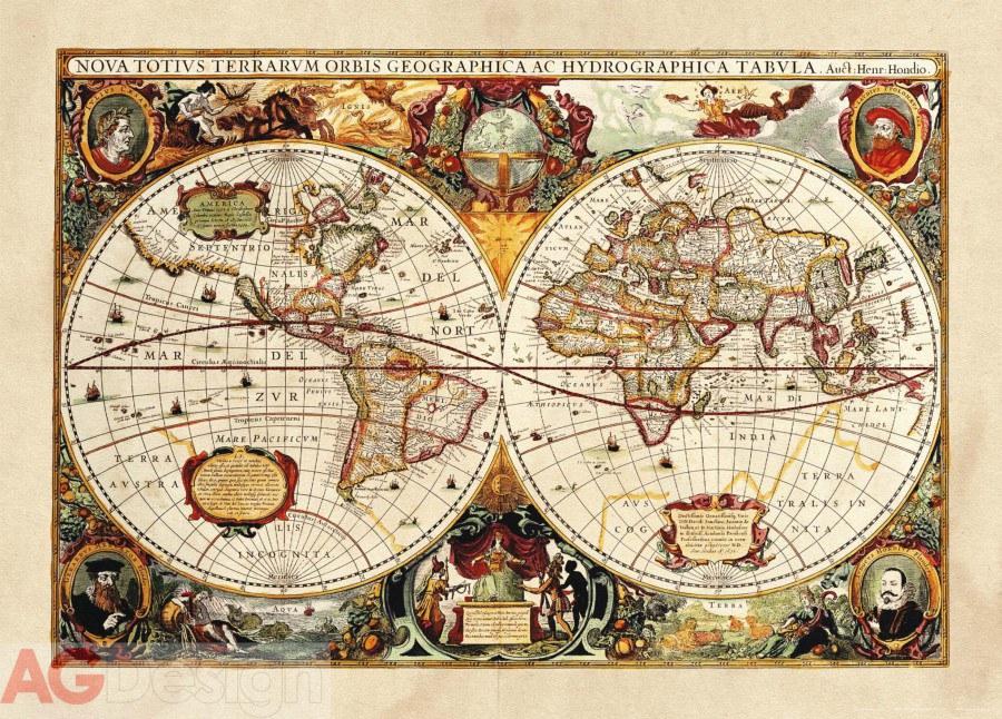 Vliesová fototapeta AG Design World map FTNM-2630, rozměry 160 x 110 cm