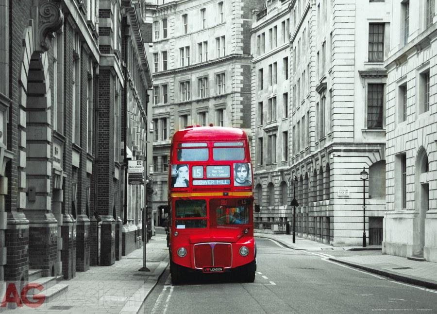 Vliesová fototapeta AG Design London bus FTNM-2614, rozměry 160 x 110 cm