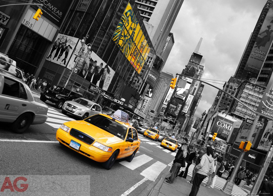 Vliesová fototapeta AG Design Yellow car FTNM-2626, rozměry 160 x 110 cm
