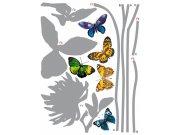 Samolepka na zeď Šedá květina a Motýli F-0405, 85x65 cm Samolepící dekorace na zeď