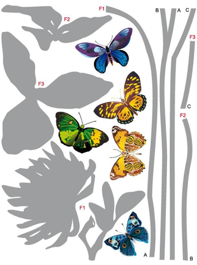 Samolepka na zeď Šedá květina a Motýli F-0405, 85x65 cm - Samolepící dekorace na zeď