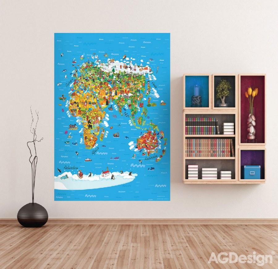 Fototapeta AG Mapa Světa FTNXL-2540   180x202 cm - Fototapety pro děti