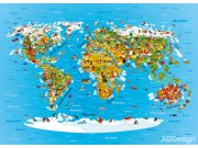 Fototapeta AG Mapa světa FTM2650 | 160x110 cm Fototapety pro děti