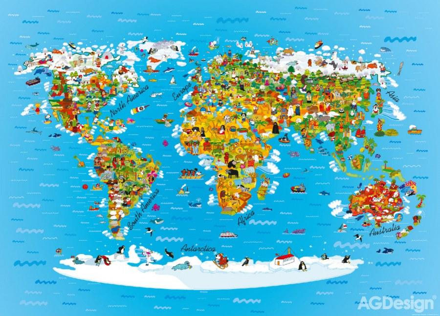 Fototapeta AG Mapa světa FTNM-2650 | 160x110 cm - Fototapety pro děti