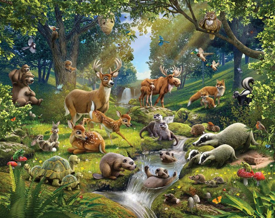 3D fototapeta Walltastic Zvířátka z lesa 43060   305x244 cm - Fototapety skladem