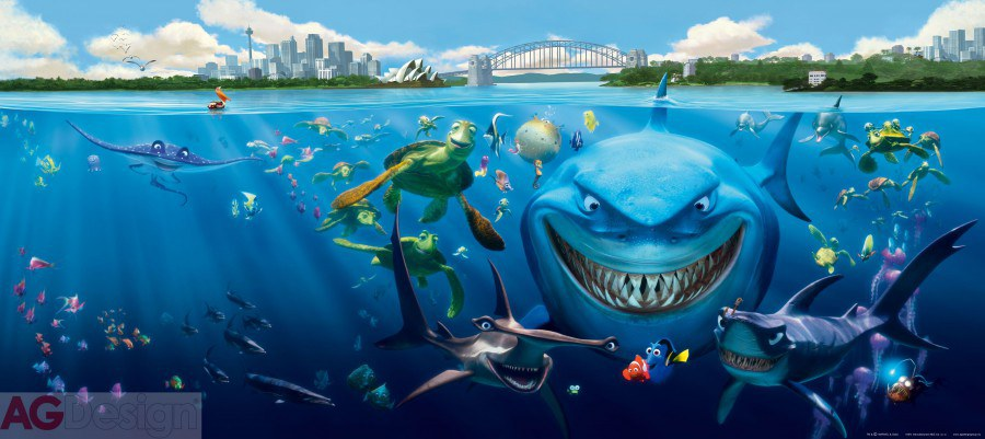 Vliesová fototapeta Nemo a Žralok FTDNH-5313 | 202x90 cm - Fototapety pro děti