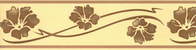 Samolepící bordura Hnědo žluté květy SB02-174 - Samolepící bordury
